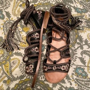 F21 Wrap Embroidered Sandals